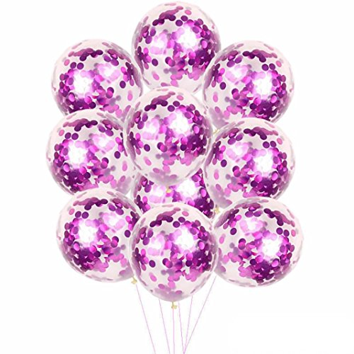 Gbell 10 Pieces Confetti Balloons-Assorted Gold Rose Gold Blue Purple Silver -12 Inches Party Balloons With Paper Confetti Dots for Birthday Baby Shower Party Wedding Decorations (Purple)