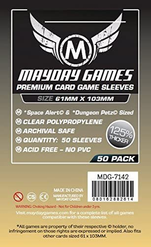 MAYDAY GAMES /'Space Alert/' Board Game Card Sleeves Clear Size 61 x 103mm 50ct