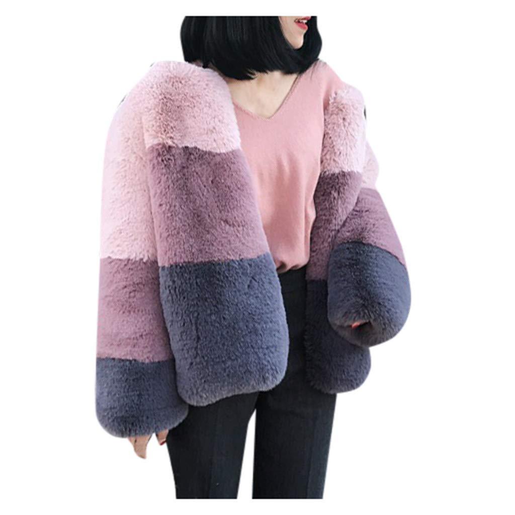 Fashionhe Plush Coat Plus Size Short Faux Coat Warm Furry Faux Long Jacket Women Long Sleeve Outerwear(Pink.S) by Fashionhe