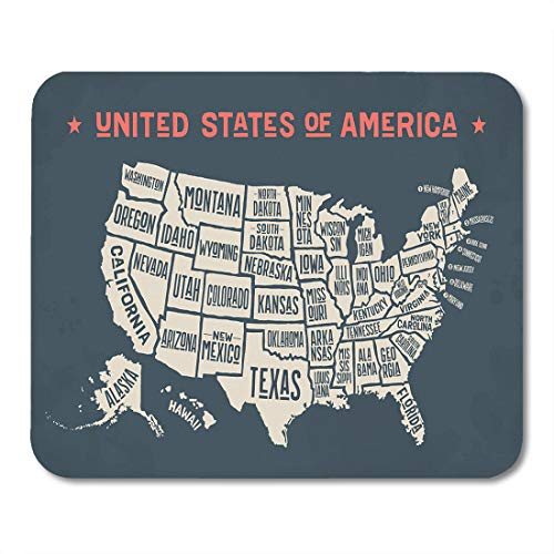 - Emvency Mouse Pads Vintage Map of United States America Names Black and White USA Geographic Themes Country Mousepad 9.5
