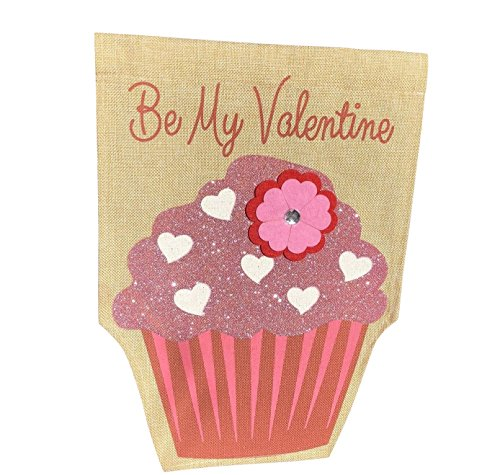 Jolly Jon Happy Valentine's Day Garden Flag - Be My Valentine Burlap Flag - One Sided Yard Décor Decoration - Glitter Cupcake & Flower Applique Design - 12