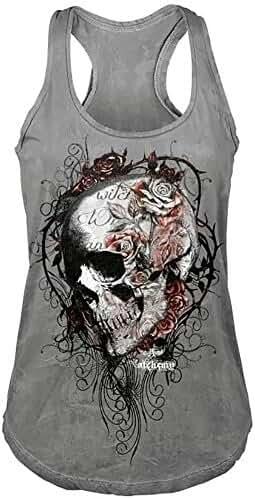 Imily Bela Women's Summer Sleeveless O-Neck Slim Skull Print Racerback Tank Tops Plus Size