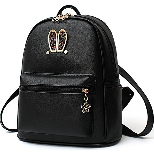 B&E Life Stylish Girls Ladies PU Leather Backpack Shoulder Bag Purse Crossbody Handbag (Black)