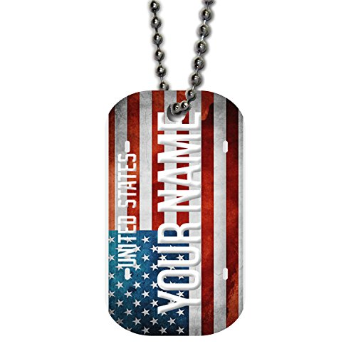 BleuReign(TM) Personalized Custom Name License Plate USA Country Single Sided Metal Military ID Dog Tag with Beaded Chain