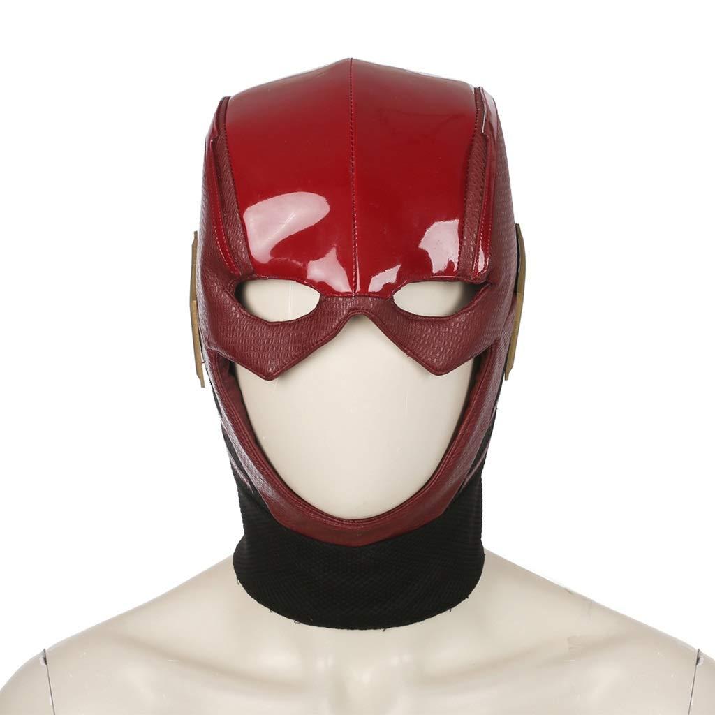 Masks Halloween Christmas Justice League Flash Helmet Hat Red Leather Batman Superman Wonder Woman COS Item Dress Up & Pretend Play (Color : Red, Size : 29CM/11inch)