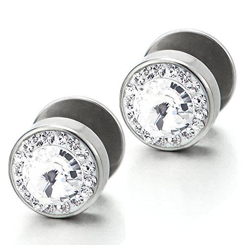 Gauge Cheater Earring (10mm Men Women Circle Stud Earrings Steel with Cubic Zirconia, Cheater Fake Ear Plug Gauges, 2pcs)