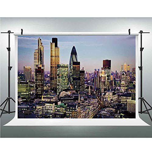 PRO Photo Studio,City,Collapsible Backdrop Background for Photography,Video and Televison (Background ONLY),6.5x6.5ft,Modern Architecture of Downtown London Center of Global Finance Famous Capital Cit -