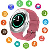 SEPVER SN05 Round Bluetooth Smart Watch with SIM Card TF Card Slot HD Touch Screen Support iPhone, Samsung, LG, HTC, Google, Sony Android Smartphone, Smart watches for Kids Women Men Boys Girls (Pink)