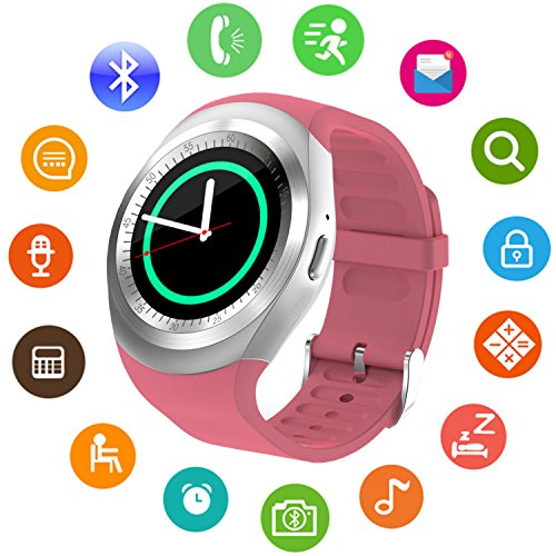 Bluetooth Smart Watch for Womens Girls Kids men boys Round Face Unlocked Cell Phone Watch with SIM Card Slot Smartwatch for Samsung LG HTC SONY Google Huawei Xiaomi Android Smart - Round Face Women