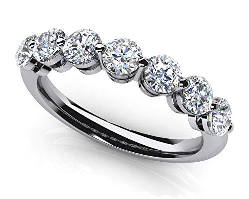 14K Or blanc brillant 7diamants anniversaire Bague