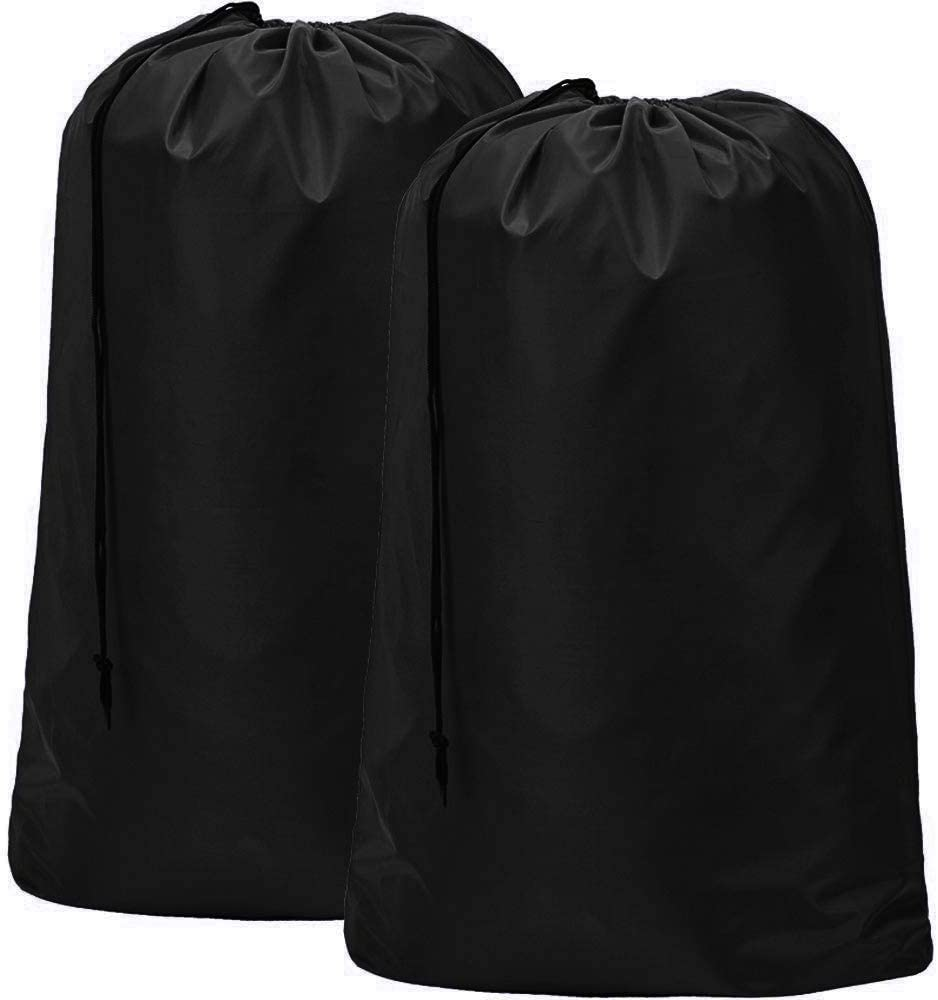 HOMEST 2 Pack XL Nylon Laundry Bag, Machine Washable Large Dirty Clothes Organizer, Easy Fit a Laundry Hamper or Basket, Can Carry Up to 4 Loads of Laundry, Black