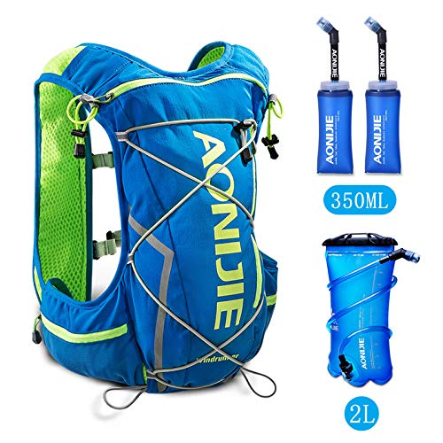 POJNGSN 10L Running Hydration Vest Men Women Bicycle Outdoor Sport Bags Jogging Cycling Hiking Backpack blue-350-2L by POJNGSN (Image #2)