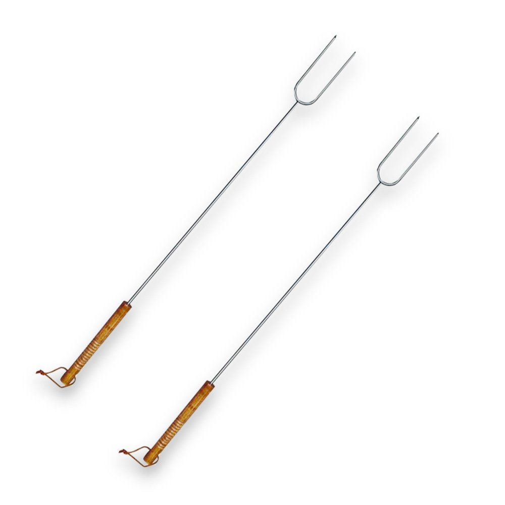"Good Cook Hot Dog & Marshmallow Roasting Sticks -- Set of 2 BBQ Extension Forks (30"" Stainless Steel Roasting Forks with Wood Handle)"