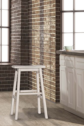 Hillsdale Furniture 5580-831A Hillsdale Moreno Non-Swivel Backless Bar Stool, Height, Sea White