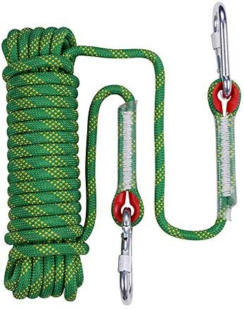 20M ,Diameter 10mm Fire Escape Safety Rescue Rappelling Roof Hiking Tree Climbing Rope with Carabiners 65ft KHN Static Outdoor Climbing Rope 10M 32ft 3//8 in Emergency Cord Rope