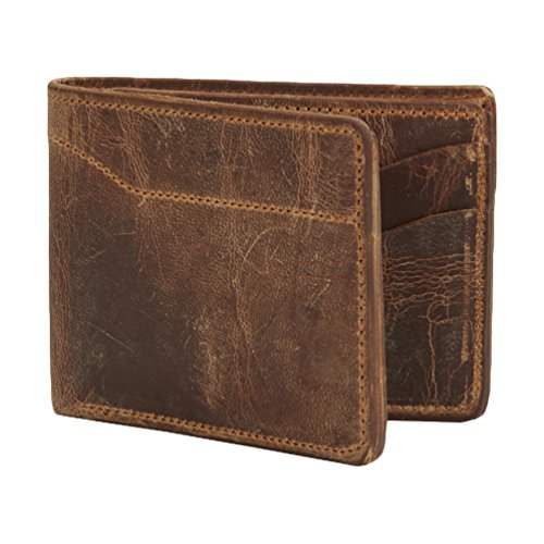 Hanks Bi-Fold Leather Wallet – Holds 8-13 Cards – USA Made, 100-Year Warranty – Vintage Brown