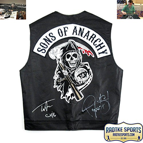 "Tommy Flanagan & Ryan Hurst Autographed/Signed Officially Licensed Sons of Anarchy Black Biker Vest with ""Chibs"" and ""Opie"" Inscriptions"