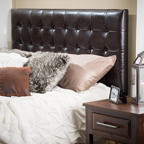 Lansing King to Cal King Adjustable Brown Tufted Leather Headboard - Leather Cal King Bed