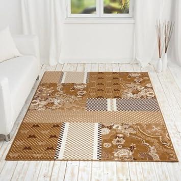 Kurzflor Design Teppich Emil Mit Patchwork Muster, Größe:120x170, Farbe: Braun/