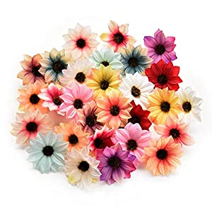 Fake flower heads in bulk wholesale for Crafts Silk Sunflower Daisy Handmake Artificial Flower Head Wedding Decoration DIY Wreath Gift Box Scrapbooking Craft Home Decor 80pcs 5.5cm 16