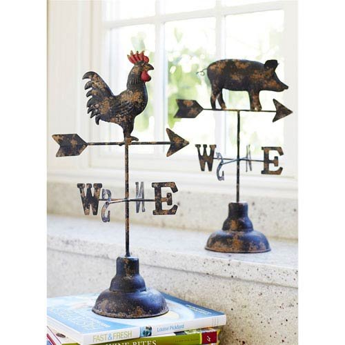Melrose Brown and Rust Metal Pig/Rooster Weather Vane (Set of 2) 14