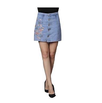 488c43ccc1 Oudan Femme Jupe Crayon Courte Taille Haute en Jean Mini Jupe Slim  Boutonnée Devant Brodée: Amazon.fr: Vêtements et accessoires