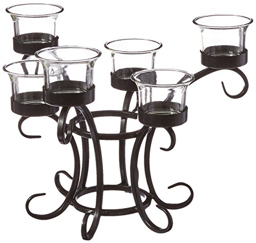 DC America WTC108 Wrought Iron Table Torchiere with Glass Cups (Wrought Iron Outdoor Benches)