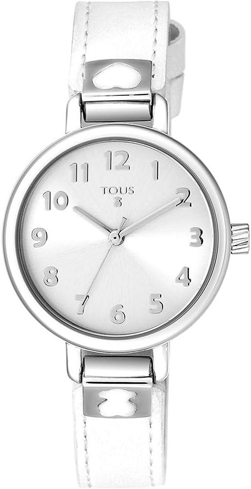 Reloj Tous Dream para niña, Caja de Acero y Correa Piel Blanca, 900350195.