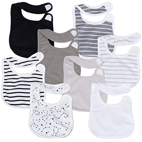 Hanes Ultimate Baby Flexy 8 Pack Bibs, Grey Stripe, NO SIZE