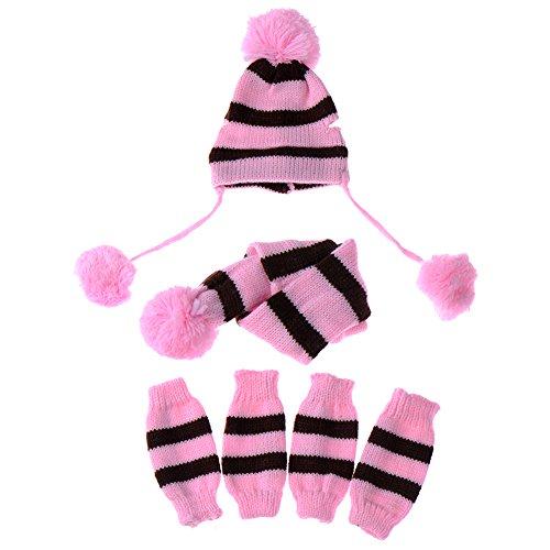 JJ Store Puppy Pet Dog Cat Winter Striped Hat Knitted Cap Socks Scarf Leg Warmers Rainbow Pink