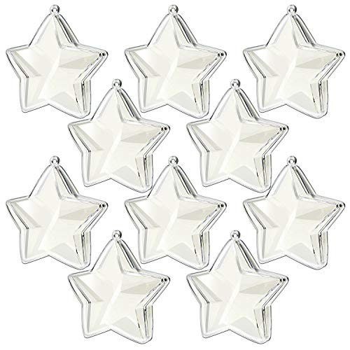 (KEIVA Transparent Clear Plastic Acrylic Fill-Able Snap-On Star Shape Ball Holiday Style Ornament for Event Decorations, Hanging Arts & Crafts Accessories, Party Favor Holders,Set of 10 (Star 75mm))
