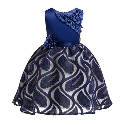 Kids Girls Sequined Wedding Dresses Bridesmaid Formal Gown,Girl Sleeveless Knee-Length Floral Casual Party Dresses,Kid' Flower Print Soft Sleeveless Summer Tea Party Dresses Navy