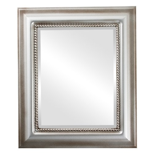 Rectangle Beveled Wall Mirror for Home Decor - Heritage Style - Silver Shade - 25x35 outside dimensions by Oval And Round Mirrors