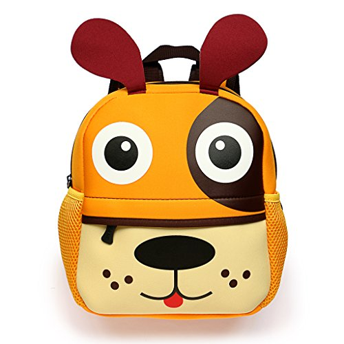 Hipiwe Little Kid Toddler Backpack Baby Boys Girls Kindergarten Pre School Bags Cute Neoprene Cartoon Backpacks for Children 0~3 Years Old - Toddler Puppy Boys