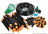 Drip 82FT Irrigation System with Hose Faucet Timer Dripper Sprinkler Plant Irrigation Kit Irrigation Pipe Perfect Irrigation Systems for Flower Bed, Patio, Garden Greenhouse Plants