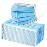 Premium Box of 50 Single Use Disposable Face Mask, Soft on Skin, Pack of 3-Ply Masks Facial Cover with Elastic Earloops Great