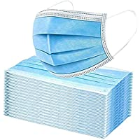 Premium Box of 50 Single Use Disposable Face Mask, Soft on Skin, Pack of 3-Ply Masks Facial Cover with Elastic Earloops…