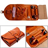 Leather Tobacco Smoking Pipe Pouch Bag Organize Case Pipe Tool lighter Holder Pocket for 2 pipe (Orange)