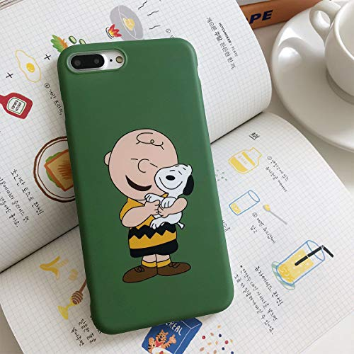 Soft TPU Green Snoopy Dog Charlie Brown Case for iPhone 7Plus 8Plus Slim Sleek Fit Shockproof Shock Bump Skid Drop Proof Protective Cute Lovely Gift Kids Teens Girls Boys Son Peanuts ()