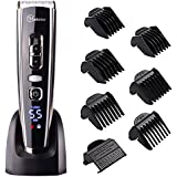 Cordless Clippers Hair Clippers for Men Hair Cutting Machine with Titanium Ceramic Blade,LED Display, Lithium Battery,Charger Stand,USB Rechargeable #Hatteker RFC-6618