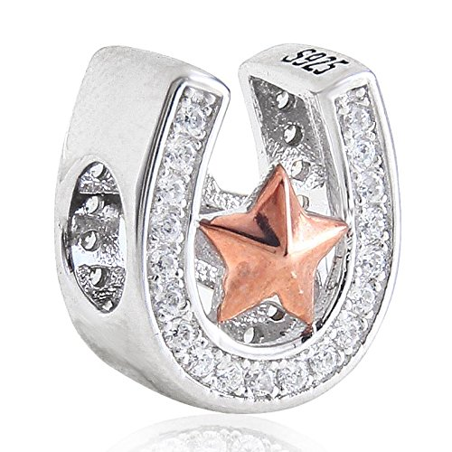 Good Luck Horseshoe Charm with Rose Gold Star 925 Sterling Silver Clear Cubic Zirconia Bead fits European Bracelet MIlh9yHoh