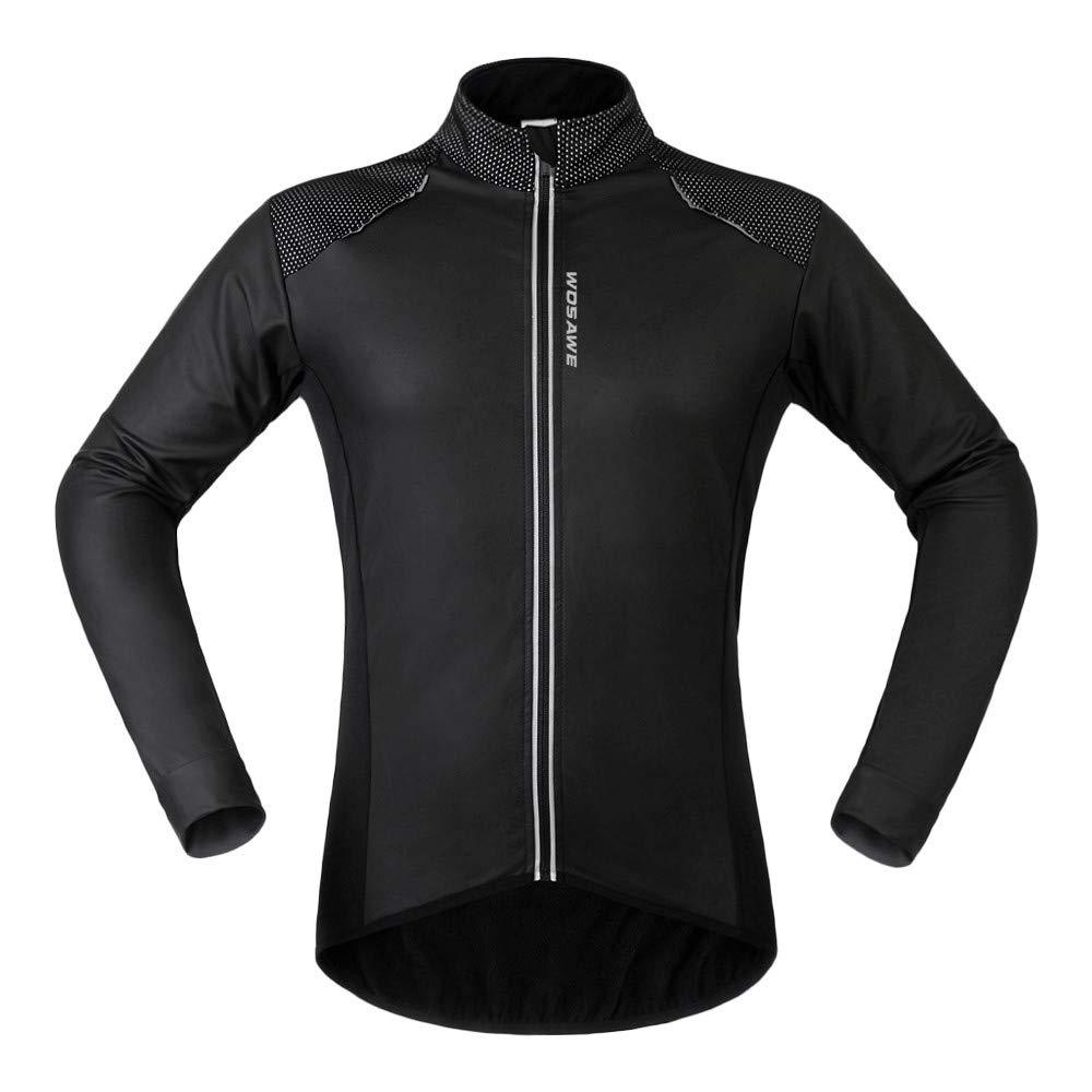 WOSAWE Uomo Fleece Termico Giacca Ciclismo Pelle PU Impermeabile Antivento Bici Bicicletta Vento Cappotto per Inverno