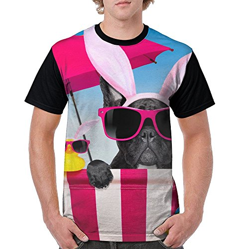 Mens Circular Collar T-Shirt Photos Easter French Bulldog Dogs Funny Rabbit Ears Fashion Youth & Adult T-Shirt