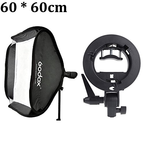 Godox 60 60cm/24 24'' Flash Diffuser Photo Studio Softbox with S-type Bracket Bowens Holder for Speedlite Flash Light by Prost