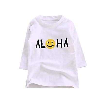feiXIANG Ropa para niños niña niña Manga Larga de Dibujos Animados Estampado Emoji Camiseta Camiseta Camisa