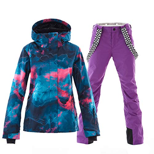 Women's Ski&Snowboarding Jacket Pants Set Windproof Waterproof Snow Jacket (M, style-10) (Snowboarding Set Women)