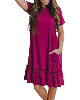 4948c5d42ae Saodimallsu Womens Ruffles Short Sleeve A-Line Loose Dresses Casual Tunic T-Shirt  Dress