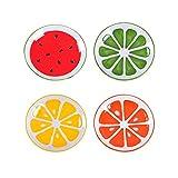 XDOBO 4Pcs Cute Fruit Pattern Ceramics Seasoning Dishes/Tea Bag Holders/Ketchup Saucer/Appetizer Plates/Vinegar Spice Salad Soy Sushi Wasabi Seasoning Dipping Bowls/Chili Oil