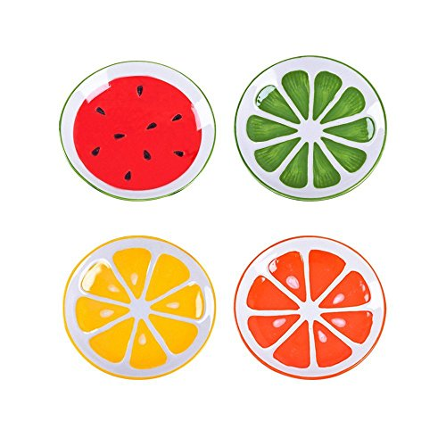 XDOBO 4Pcs Cute Fruit Pattern Ceramics Seasoning Dishes/Tea Bag Holders/Ketchup Saucer/Appetizer Plates/Vinegar Spice Salad Soy Sushi Wasabi Seasoning Dipping Bowls/Chili Oil by xdobo