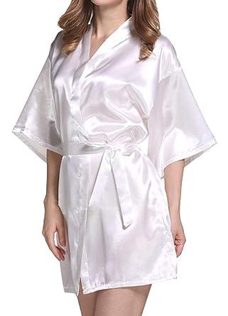 Damas Satin Kimono Camisón Noche Cálido Shea Camisón De Baño Corto Bata Chic Ropa De Seda De Los Hombres Bata: Amazon.es: Ropa y accesorios